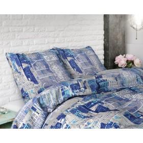 Bombažna posteljnina City - modra