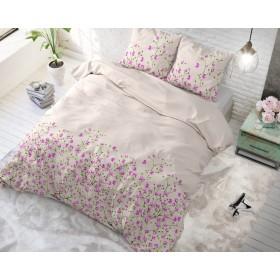 Bombažno-satenasta posteljnina Fleur - roza