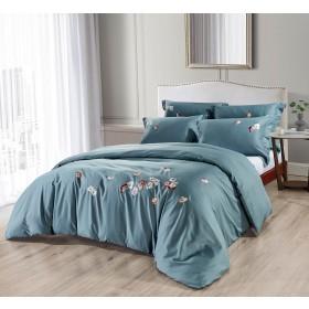 Bombažno-satenasta vezena premium posteljnina Svilanit Belaja