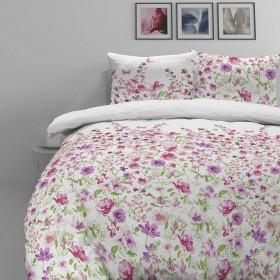 Bombažno-satenasta posteljnina Svilanit Pink Flowers