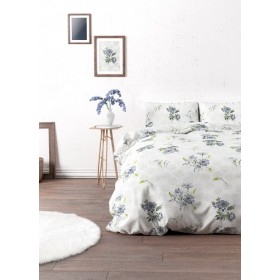 Bombažno-satenasta posteljnina Aylin - modra