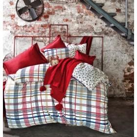 Bombažno-satenasta posteljina Line - rdeča